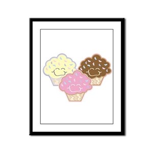 Cute Vanilla Strawberry Chocolate Cupcakes Framed
