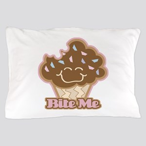 Cute Funny Bite Me Chocolate Cupcake Pillow Case