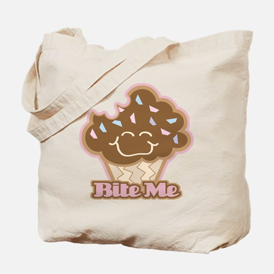 Cute Funny Bite Me Chocolate Cupcake Tote Bag