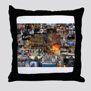NYC Christmas Time Throw Pillow