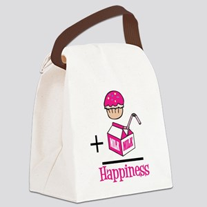 Cupcake Plus Milk Equals Happiness Canvas Lunch Ba