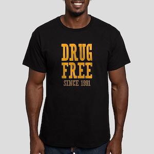 Drug Free Since 1991 Men's Fitted T-Shirt (dark)
