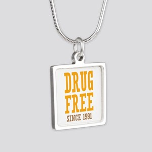 Drug Free Since 1991 Silver Square Necklace