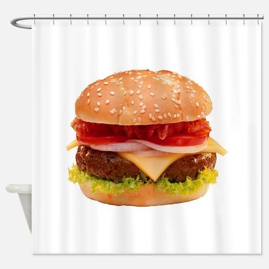 yummy cheeseburger photo Shower Curtain