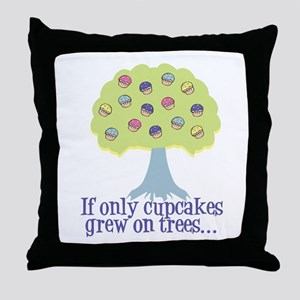 If only Cupcakes on Trees Throw Pillow