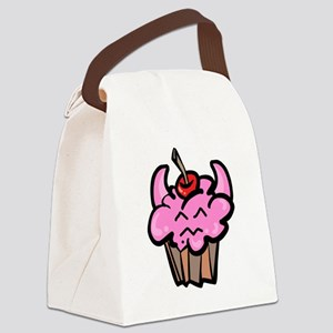 Funny Cute Devil Food Cupcake Canvas Lunch Bag