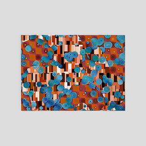 Klimtified! - Rust/Turquoise 5'x7'Area Rug
