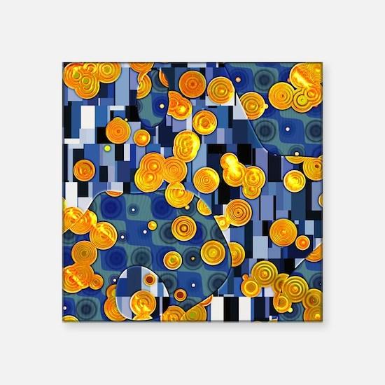 "Klimtified! - Gold/Blue Square Sticker 3"" x 3"""