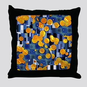 Klimtified! - Gold/Blue Throw Pillow