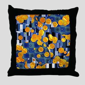 Klimtified! - Gold/Blue Throw Pillow