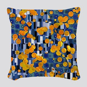 Klimtified! - Gold/Blue Woven Throw Pillow