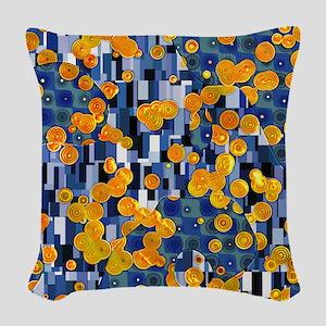 Klimtified! - Gold/Blue Woven Throw Pillow