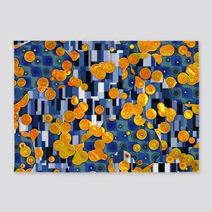 Klimtified! - Gold/Blue 5'x7'Area Rug