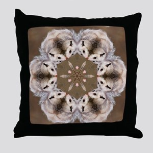 Opossum Mandala Throw Pillow