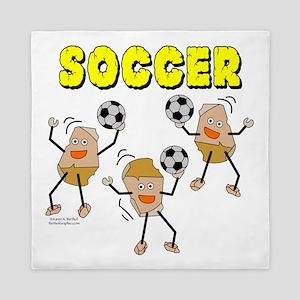 3 Soccer Ball Rocks Queen Duvet