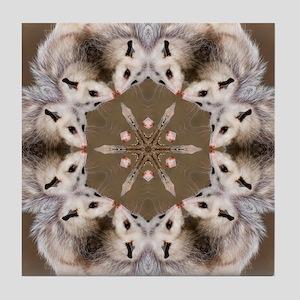 Opossum Mandala Tile Coaster