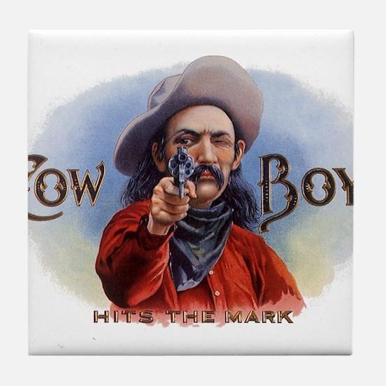 Vintage Cigar Label Art, Cowboy Hits the Mark Tile