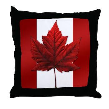 Canada Flag Maple Leaf Art Throw Pillow
