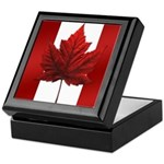 Canada Flag Maple Leaf Art Wooden Keepsake Box