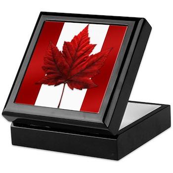 Canada Flag Maple Leaf Art Wooden Keepsake Box