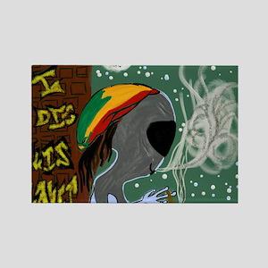 Rasta Alien - I Dig This Planet Rectangle Magnet