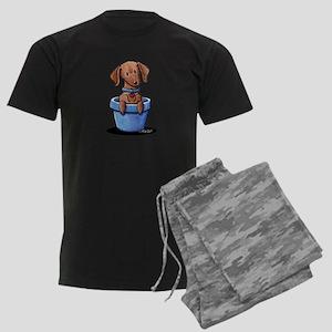 KiniArt Potted Doxie Men's Dark Pajamas