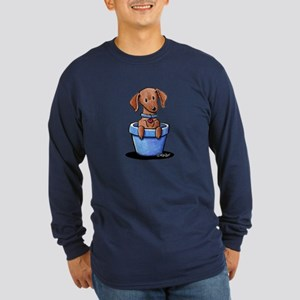 KiniArt Potted Doxie Long Sleeve Dark T-Shirt