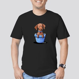 KiniArt Potted Doxie Men's Fitted T-Shirt (dark)