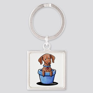 KiniArt Potted Doxie Square Keychain