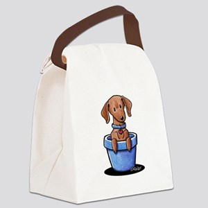 KiniArt Potted Doxie Canvas Lunch Bag