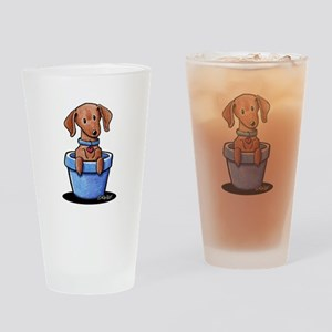 KiniArt Potted Doxie Drinking Glass