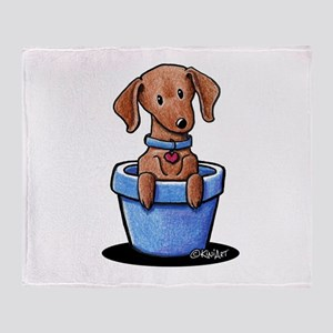 KiniArt Potted Doxie Throw Blanket