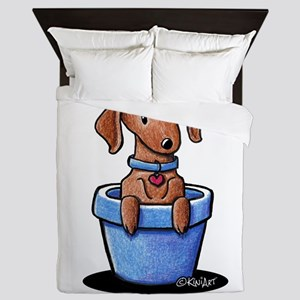 KiniArt Potted Doxie Queen Duvet