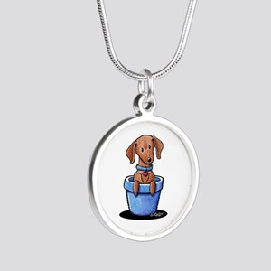 KiniArt Potted Doxie Silver Round Necklace