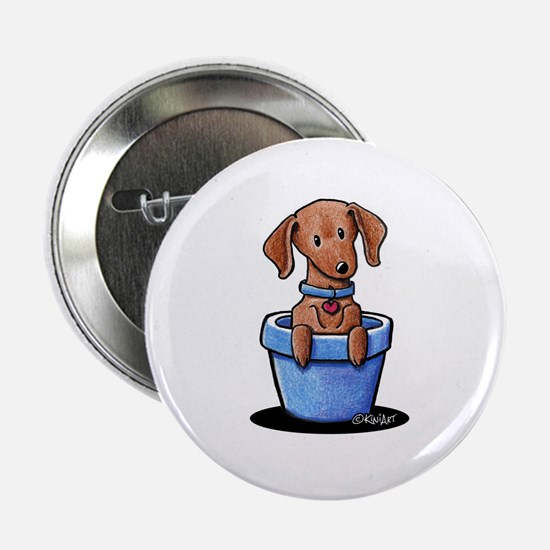 """KiniArt Potted Doxie 2.25"""" Button"""