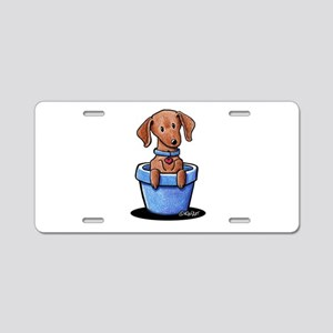 KiniArt Potted Doxie Aluminum License Plate