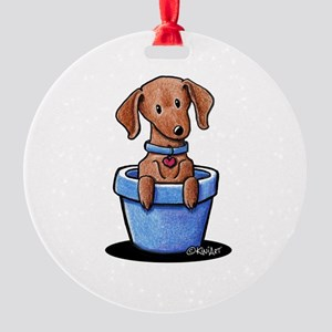KiniArt Potted Doxie Round Ornament