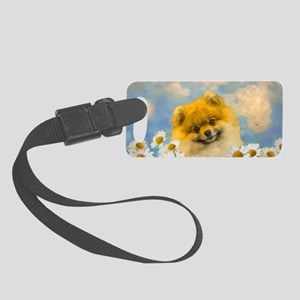 Pomeranian in Daisies Small Luggage Tag