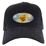 Pomeranian in Daisies Black Cap with Patch