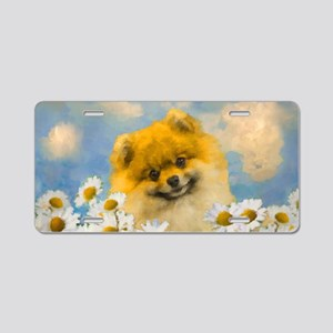 Pomeranian in Daisies Aluminum License Plate