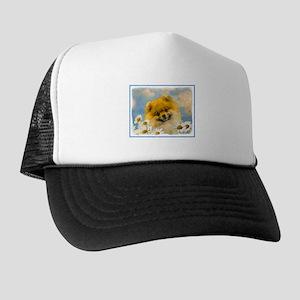 Pomeranian in Daisies Trucker Hat