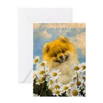 Pomeranian in Daisies Greeting Card
