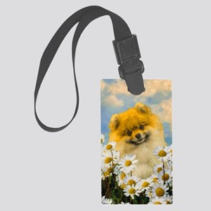 Pomeranian in Daisies Large Luggage Tag