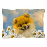 Pomeranian in Daisies Pillow Case