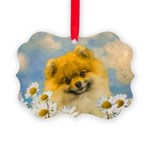 Pomeranian in Daisies Picture Ornament