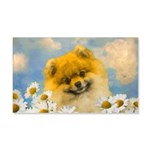 Pomeranian in Daisies 20x12 Wall Decal