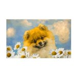 Pomeranian in Daisies 35x21 Wall Decal