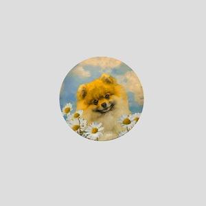 Pomeranian in Daisies Mini Button