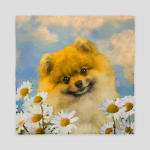 Pomeranian in Daisies Queen Duvet