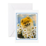 Pomeranian in Daisies Greeting Cards (Pk of 10)